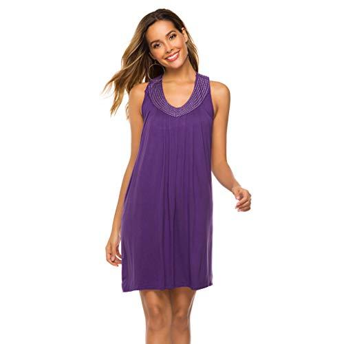 Damen Kleid, Wawer Ärmelloses Kleid mit V-Ausschnitt und bunten Perlen Damen Sommer Bright Beads V...