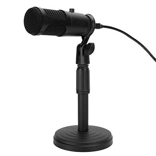 Exliy Micrófono de Condensador USB Base de Escritorio Soporte retráctil Perilla de la computadora Ajuste de Volumen Adecuado para Cantar en línea, Reunión remota,