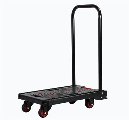 手押し台車 折りたたみ 台車 UHolan 軽量 静音 コンパクト耐荷重 150kg 家庭用 業務用 運搬用 持ち運び キャリーカート ブラック