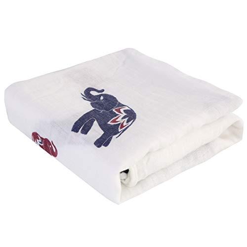 Rehomy 1 manta unisex de muselina para bebé con estampado de animales de dibujos animados para recién nacidos, manta de recepción suave para niños y niñas, 47 x 47 pulgadas (elefante)