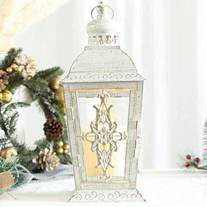 JHY DESIGN Decorative Candle Lantern -13'' High Metal Candle Holder Or Vintage Style Hanging Lantern for Indoor Outdoor, Events, Parities,Weddings(White with Gold Brush)