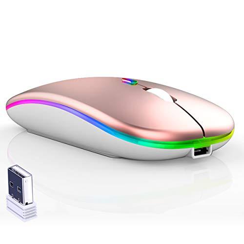 CAICOME Ratón Inalambrico, Ultra Delgado LED de Colores Recargable Ratones Inalámbricos 2.4G PC Computer Laptop con Receptor USB para Computadora Portátil,  PC,  Computadora,  Mac #Rose Gold#