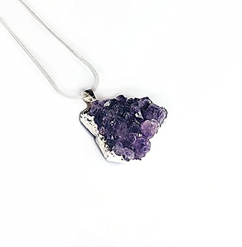 Collar con colgante de cama de drusa de amatista – joyas de cristal y piedras preciosas