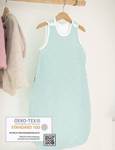 Ehrenkind® Babyschlafsack Rund | Bio-Baumwolle | Ganzjahres Schlafsack Baby Gr. 50/56 Farbe Mint mit weißen Sternen - 2