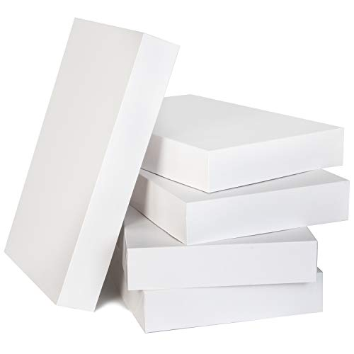 12 Christmas White Cardboard Gift Boxes 17'x11'x2.4' with Tissue Paper & Lids for Holiday Festive Xmas Party Clothes Wrapping Present Boxes and DIY Dessert Boxes