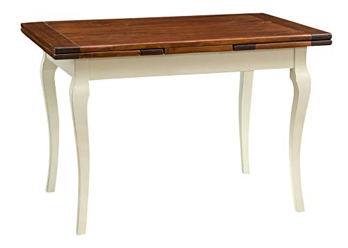 Biscottini Table Extensible en Bois Massif de Tilleul – Style Country – Style Shabby – Structure Blanche vieillie Plan Noyer L 120 x P 80 x H 80 cm