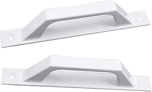 RTUTUR 4 unids blanco de aleación de aleación de aleación de la manija de la manija de la puerta del balcón manija de la puerta del granero de 175 mm Centro de agujero para puertas de la casa, puertas
