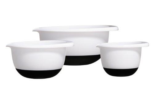Premier Housewares ciotole con base antiscivolo in silicone, set da 3, colore: Bianco/Nero