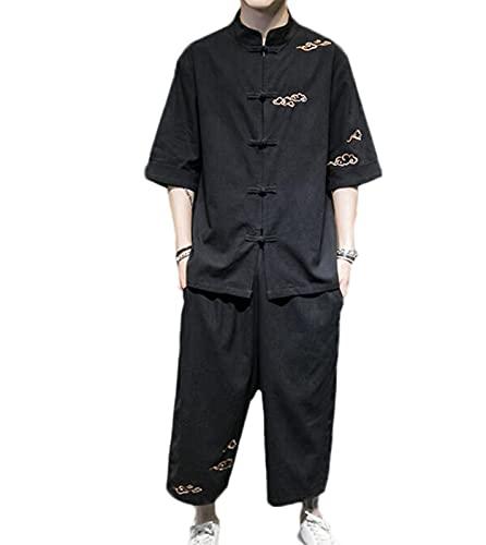 Chaqueta de Punto Kimono Vintage para Hombre Traje de Dos Piezas de Lino y algodón Hanfu Top, para Hombre Traje Tang Tradicional Chino Ropa de Artes Marciales Camisas Pantalones