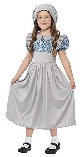 Smiffy'S 27532S Disfraz De Colegiala Victoriana Con Vestido Y Sombrero, Gris, S - Edad 4-6 Años