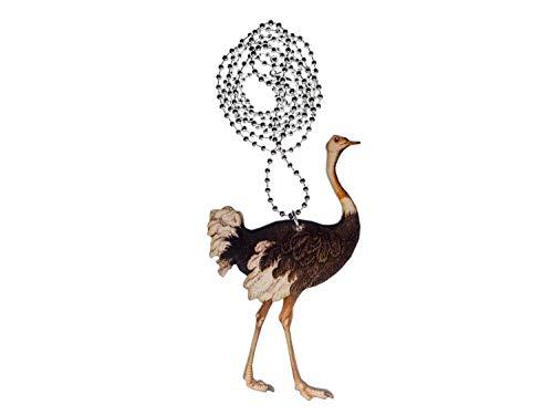 Miniblings Collar de Cadena de 80 cm Strauss Aves corredoras de Madera LaserPrint Aves LC