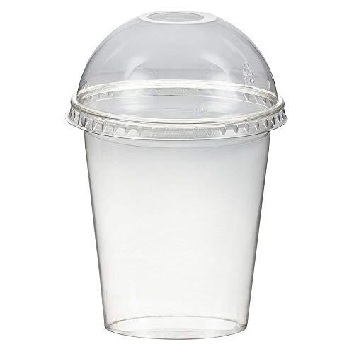 1-PACK Smoothiesbecher + Domdeckel mit Öffnung 300 ml, Ø 95mm, PET, glasklar, 50 Stück