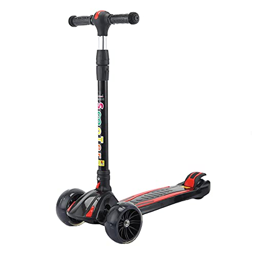 XJMPYGR Foldable Children'S Three-Wheeled Scooter With Led Luminous Wheels, Adjustable Handle And Lightweight Structure, Suitable For Children Aged 2-10,Black