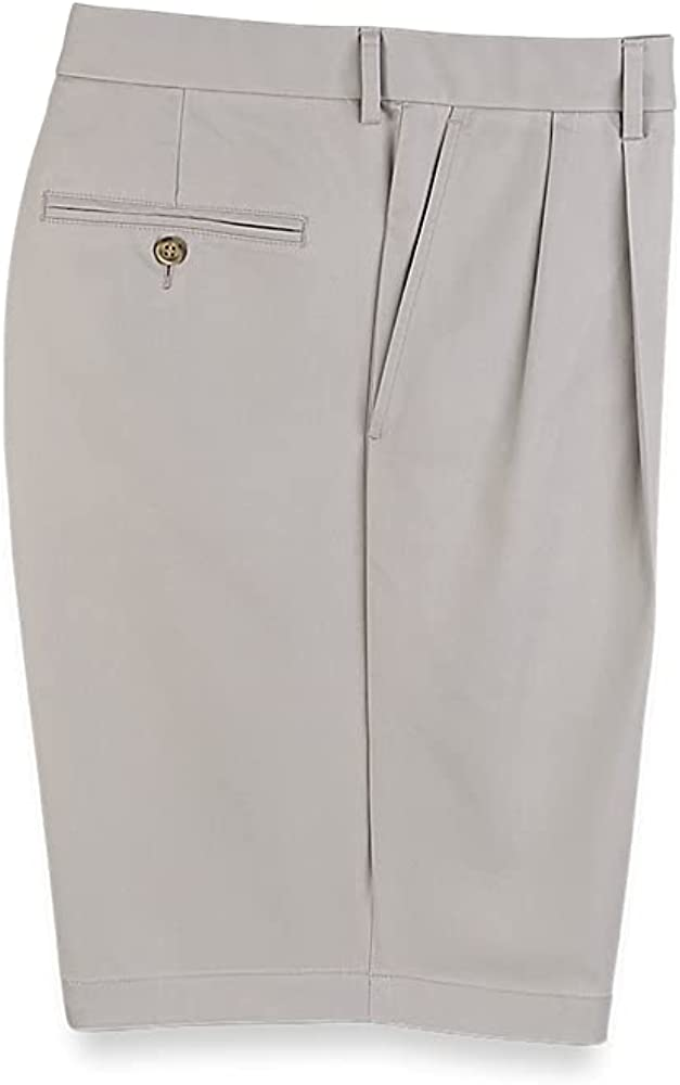 Paul Fredrick Men's Lightweight Impeccable Chino Pleated Short Light Grey 42 PSQ557S at  Men's Clothing store