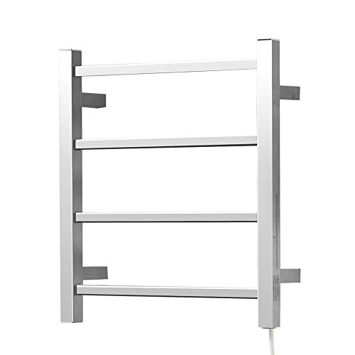 SHARNDY Electric Heated Towel Warmer Rack Polished Chrome for Bathroom Wall Mounted Square ETW13-2A Drying Rack UL Listed, 201 Stainless Steel, 4 Bars, 120V, 35W, 19.69 x 17.71 x 4.33 inches