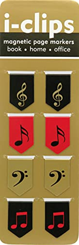 Music i-clips Magnetic Page Markers (Set of 8 Magnetic Bookmarks)