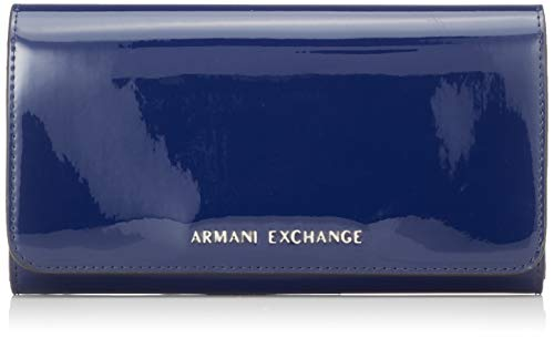Armani Exchange Damen Wallet with Stud Geldbörse, Blau (Navy), 10.5x3x19 cm