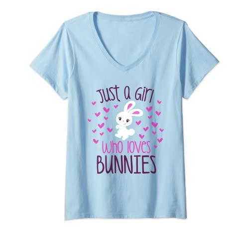 Mujer JUST A CHICA QUE AMA A LOS CONEÑOS Conejo, Mamá, Conejo, Propietario de Mascotas Niño Camiseta Cuello V