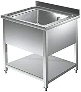 Spültisch 1 Becken mittig - 0,5 x 0,6 m Edelstahlspültisch Edelstahl Gastro Spüle