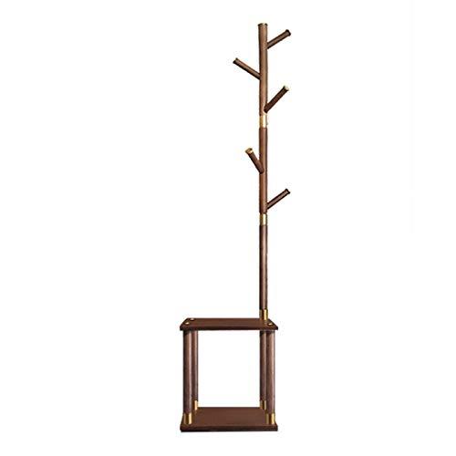 Perchero de madera, zapatero, árbol de pasillo con estante de almacenamiento para entrada, soporte 3 en 1 con 5 ganchos, para ropa, bolsas y abrigos (color: A)