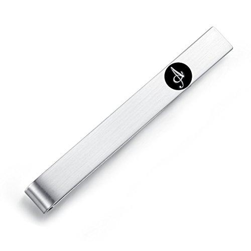 HONEY BEAR 5.4cm Herren Briefe Initialen Krawattennadel Krawattenklammer für Normale Krawatte Edelstahl Tie Clip,Silber mit Schwarzem Buchstaben (A)