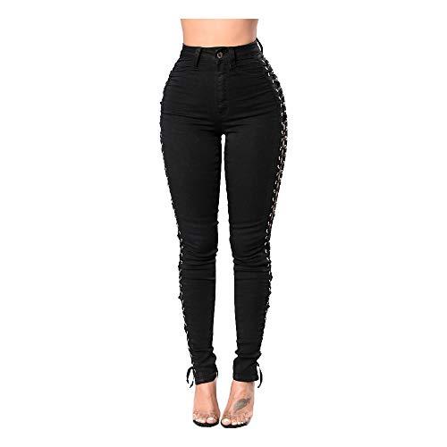 Mibuy Vaqueros Mujer Pantalon 2020 Pantalones Largos Botones Oficina Jeans De Banda Sexy Pantalones Lápiz Largo Vaqueros Leggings Push Up Mezclilla Moda Vaqueros Mujer Slim Fit Negro,M