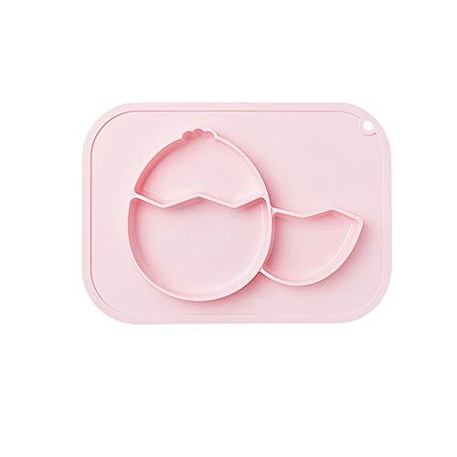 LUFKLAHN Kinder Silikon-Dinner Plate, Anti-Fallen und wasserfest, integrierte Anti-Rutsch-Sauger-Baby-Separation Geschirr. (Color : A)