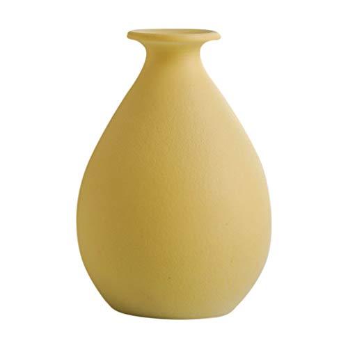 Vase Tumba de cerámica moderna simple de alta calidad para decoración de flores, arte del hogar, sala de estar, dormitorio, oficina, escritorio, amarillo, 9,9 x 11,5 cm para flores