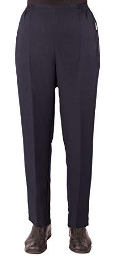 Eitex Damen Seniorenhose Schlupfhose mit Gummizug Kurzgröße ideal für pflegebedürftige Omas einfach anzuziehen und super pflegeleicht (48/50, dunkelblau Uni)