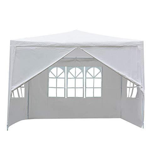 Gazebo da Giardino Pieghevole, 3 x 3 x 3 m tenda da giardino per tendone con protezione UV impermeabile con telone bianco per terrazza da giardino mercato campeggio festival come riparo e telone