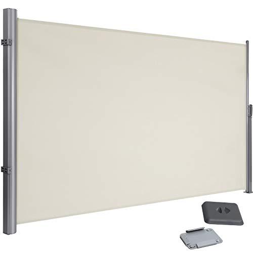 SONGMICS 200 x 350 cm (H x L), Seitenmarkise für Balkon und Terrasse, Sichtschutz, Sonnenschutz, Seitenrollo, Beige GSA205E
