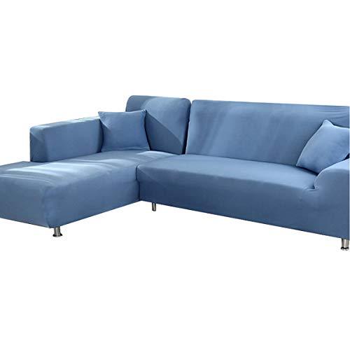 AllRing Sofabezug L-Form Ecksofa Sofa Spannbezug Stretch Sofabezug Set für 1-4 Sitzer Sofa(Wenn Ihr Sofa für L-Form Ecksofa ist, müssen Sie Zwei (Grey Blue,2-Seater 145-185cm)
