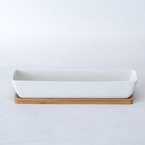 Sea Star 28 cm langer, rechteckiger, moderner, minimalistischer Blumentopf aus weißer Keramik für Sukkulenten mit Untersetzer für Büro, Schreibtisch, Fenster (lang, rechteckig, 27,9 cm)