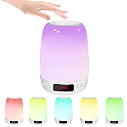 Night Light Bluetooth Speaker, Baby Kids Night Light with White Noise&Alarm Clock, Rechargeable LED Color Changing Touch Smart Table Lamp, Mood Light Nightlight for Nursery Adults Girls Sleep Bedroom