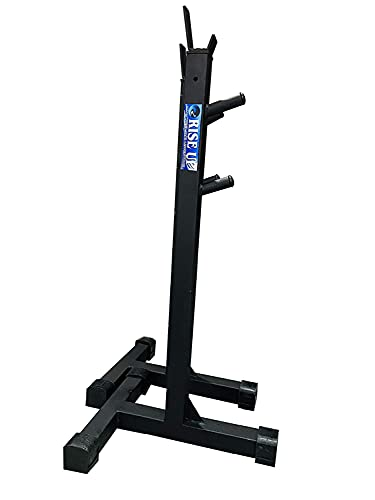 RISE UP Fully Adjustable steel Squat Stand with Bench Biceps (Capacity up to 200 kg, black)