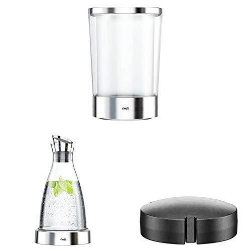 Emsa 514234 Flow Slim Flaschenkühler + Flow Kühlkaraffe, glas + 507337 Kühlakku, Für Kühlkaraffen-Serie Flow/Flaschenkühler Flow Slim