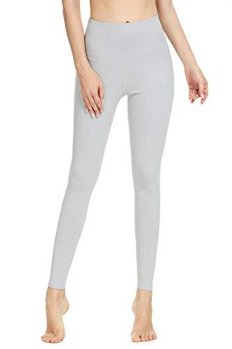 QUEENIEKE Yoga Hosen Damen-hohe Taillen Yoga Leggings mit Tasche Trainings Strumpfhosen für Laufen Fitness(Gletschergrau, XS)