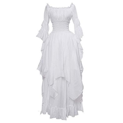 Momo store Womens Renaissance Faire Costume Off Shoulder Wench Medieval Dress Plus Size Peasant Maiden Boho Gown (4XL, White)