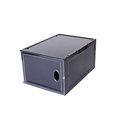 YUANB Caja de almacenamiento de zapatos de plástico transparente magnético fuerte para guardar zapatos, colección de zapatos, armario de exhibición a prueba de humedad y ahorro de espacio, color negro