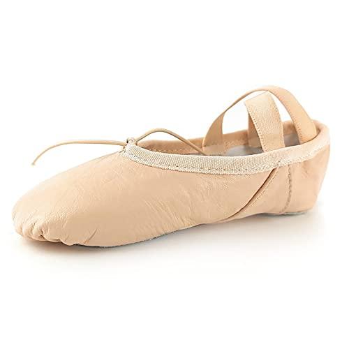 Toro-MAX - Zapatillas de ballet para niñas, de lona para gimnasia, yoga, suela dividida, para niñas, mujeres y niños pequeños, color Rosa, talla 36 EU
