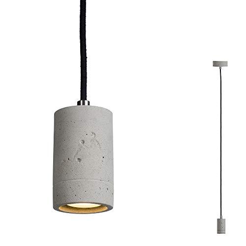SSC-LUXon Design Pendelleuchte PIA aus Natur Beton, Textilkabel schwarz - mit dimmbarer LED GU10 Lampe 5W warmweiß Betonlampe