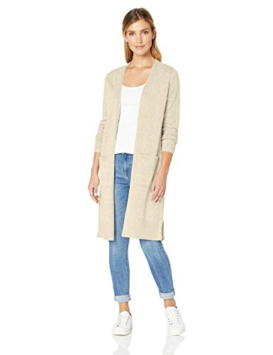 Amazon Essentials Damen-Strickjacke, leicht, längere Länge, Beige (Oatmeal Heather Oat), Large