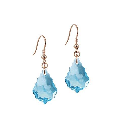 Eternal Collection Tresor Aquamarine Baroque Crystal Rose Gold Tone Drop Pierced Earrings Aquamarine 3.8