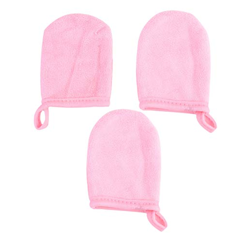FRCOLOR Facial Cleaning Handschoenen 3Pcs Microfiber Make- Up Remover Pads Herbruikbare Facial Doek Pads Verdikte Gezichtsreiniging Doek Handschoen Roze