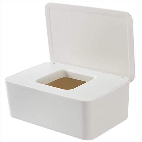 NQ-ChongTian Caja de pañuelos húmeda y seca de doble propósito, a prueba de polvo con tapa, caja de almacenamiento de escritorio sellada apta para el hogar, la oficina, el coche de escritorio