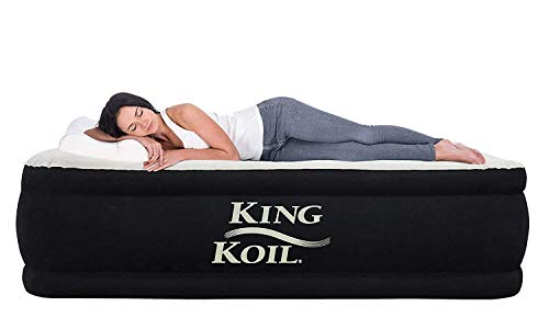 King Koil Twin Air Mattress with Built-in Pump - Double High Elevated Raised Airbed for...