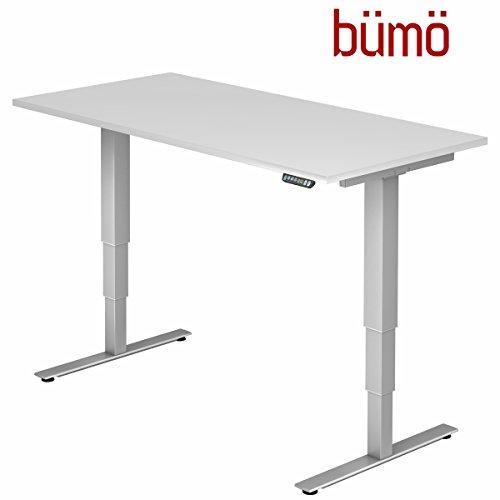 bümö® ergonomischer Schreibtisch elektrisch höhenverstellbar   elektrischer Bürotisch   höhenverstellbarer Büroschreibtisch mit Memoryfunktion in Rechteck: 160x80 cm Weiß