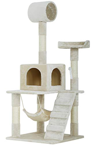 BestPet Cat Tree Tower Plush Indoor Multi-Level Cat Condo with Hammock and Scratching Post,55""