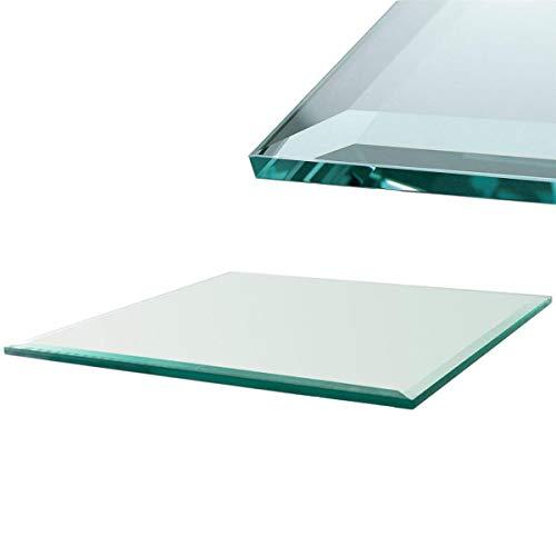 Euro Tische Glasplatte für Kaminofen - Glasscheibe mit 6mm ESG Sicherheitsglas - perfekt geeignet als Funkenschutzplatte - Verschiedene Größen (90x90cm, Klarglas)