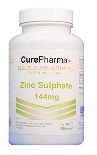 CurePharma Zinc Sulphate 144mg - 100 Tablets Vegan Immune System Food Supplement